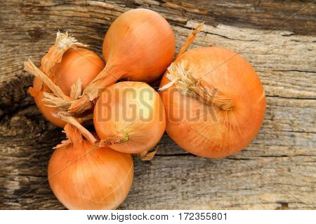 Whole onion bulbs on the wooden background