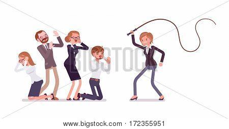 Angry female tyrant manager beating with a whip office workers, punishment for clerks, ruler with absolute power, despot at work, terrible boss behavior, full length, isolated, white background