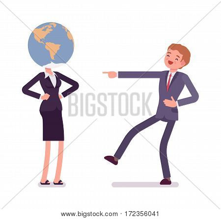 Woman wearing a globe on her head, school humor, student deeply interested in geography, person, dreaming of travelling round the world, man mocking at her, full length, isolated, white background