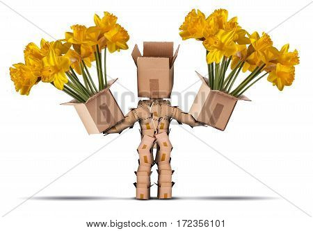 Boxman holding large boxes of yellow flowers. Isolated on a white background. Flower delivery or gift concept
