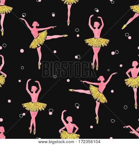 Dancing ballerinas seamless pattern. Vector ballet illustration.