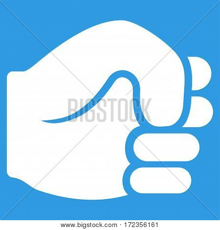Fist vector icon. Flat white symbol. Pictogram is isolated on a blue background. Designed for web and software interfaces.