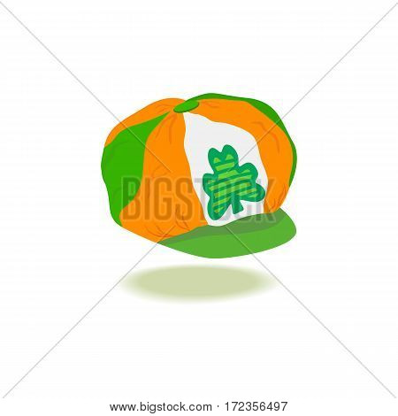 St. Patrick's Day sign. Freehand drawn cute icon emblem. Irish flag colors. Traditional holiday celebration decoration. Modern cap with clover. Ireland shamrock green symbol. Vector design element