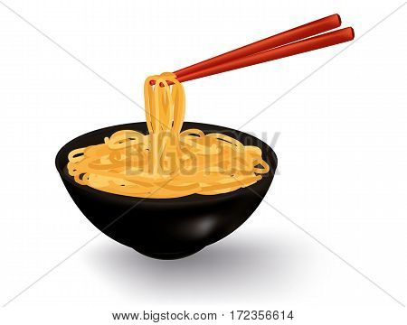 Bowl of noodles soup with chopsticks isolated