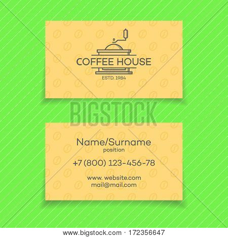 Business card of coffee house with logo coffee machine. Vector design elements, business signs, logos, identity, labels, badges and other branding objects for your business. Vector illustration.