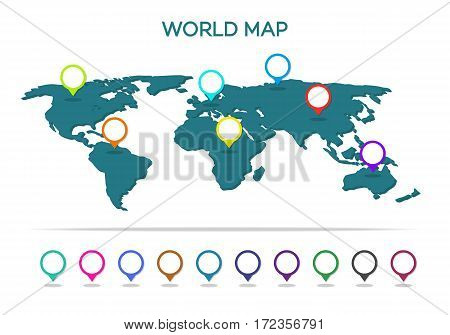 World map with pointer isolated on white background. Vector Illustration