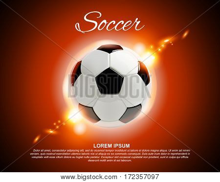 3d football or soccer ball on red background with lights and place for text