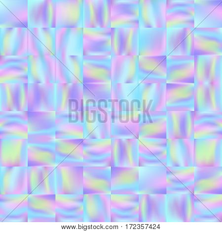 Holographic mosaic background. Trendy fashion wallpaper. Pastel smooth texture. Holography backdrop. Modern vector illustration for web design or printed products.