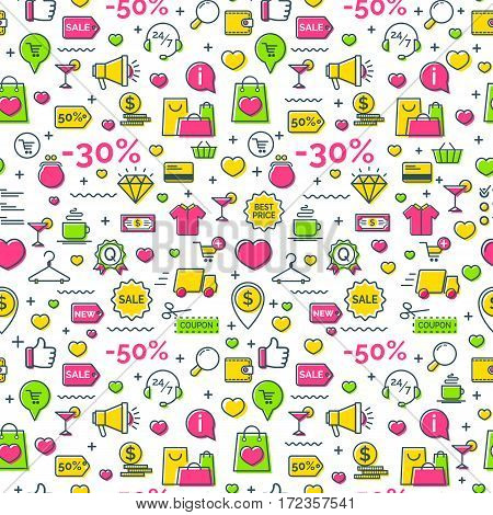 On- line shopping seamless pattern with thin line flat icons. For store sales decoration.  Vector Illustration