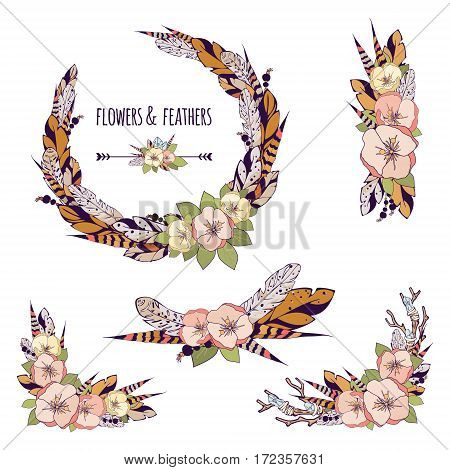 Vector romantic set of elements for design in a boho style. Vintage wreath and compositions with flowers feathers tree branch and crystals for your desigh