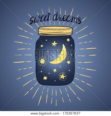 Sweet dreams vector illustration. Hand drawn jar with sleeping smiling moon and stars.