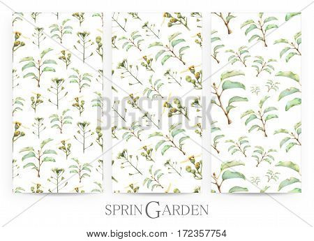 Set of seamless patterns with spring wildflowers and plants drawn by hand with crayons. Painted by hand with colored pencils illustration isolated on white background. Romantic vintage style