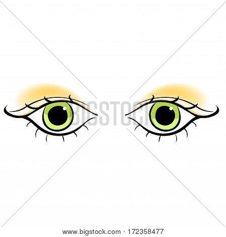 Eyes Young Women Look Forward Silhouette. Vector Illustration