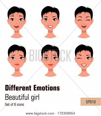 Woman with different face expressions. Young attractive girl with various emotions short hair. Cute businesswoman. Set of six vector illustrations.