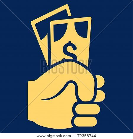 Dollar Banknotes Salary vector icon. Flat yellow symbol. Pictogram is isolated on a blue background. Designed for web and software interfaces.