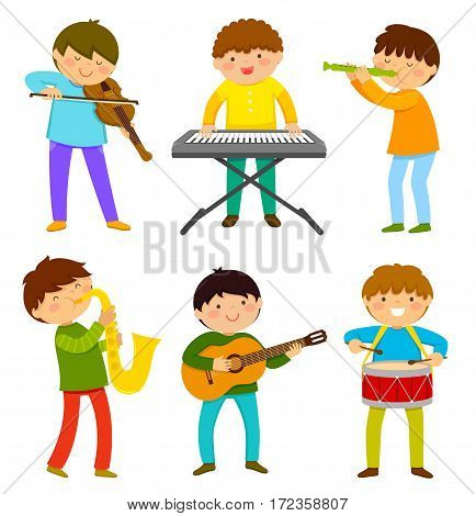 set of happy kids playing musical instrument