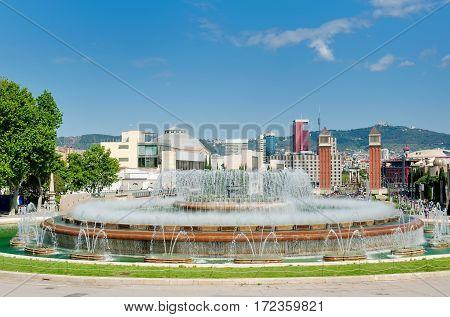 Fountain and Plaza de Espana day view Barcelona Spain