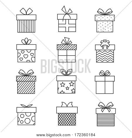 Gift boxes thin line icons. Vector present box linear signs set for celebration design. Collection of linear boxes for gift packaging illustration