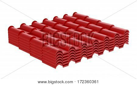 Red corrugated tile element of roof. Isolated on white background. 3d illustration