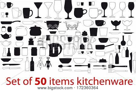 Big set of fifty different items kitchenware. Each piece in two versions - only the outline and more detailed