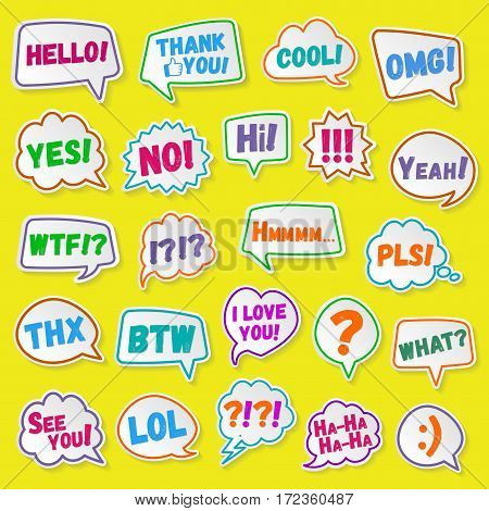 Stickers of speech bubbles color set with shadows. Acronyms and abbreviations. Vector Illustration