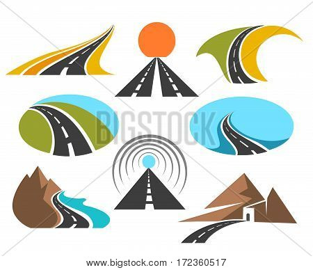 Vector road colored emblems isolated on white background for logo design. Transport highway or pathway symbols. Abstract asphalt road illustration