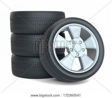 High Quality Car Wheels, Isolated on White Background. 3D Rendering