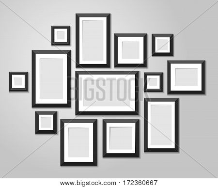 Wall picture frame templates isolated on white background. Blank photo frames with shadow and borders vector illustration. Empty frame for photo or image picture in museum