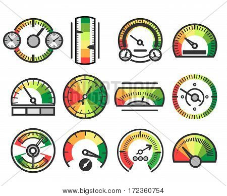 Measuring guage device vector icons. Measurement and measure, level indicator and meter signs. Illustration of color tachometer and barometer