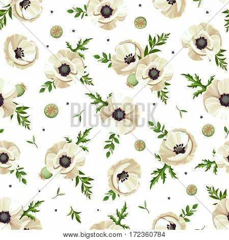Seamless pattern with white poppies. Vector illustration.