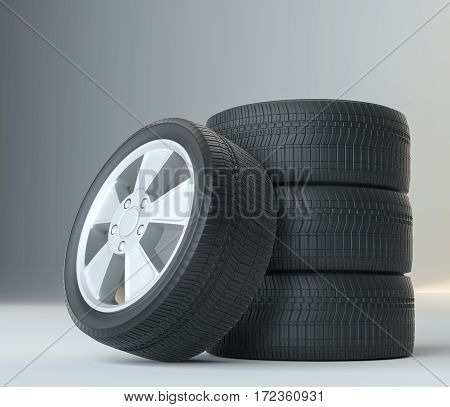 Car Tires on Gray Studio Background. High Quality. 3D Illustration