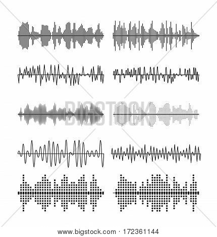 Sound wave forms vector illustration. Soundtrack audio music amplitude waveforms like equalizer isolated on white background. Wave sound melody signal