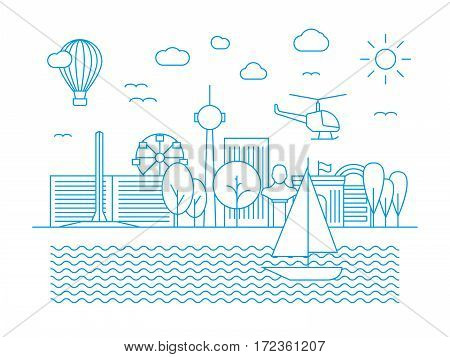 Linear urban skyline. City panorama in line art vector style. Illustration of line cityscape