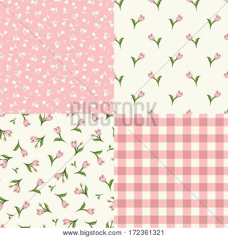 Vector set of seamless floral patterns in pink and white colors.