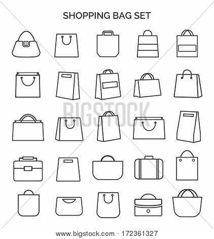 Set of shopping bag thin line icons black color and flat style isolated on white background. Vector illustration