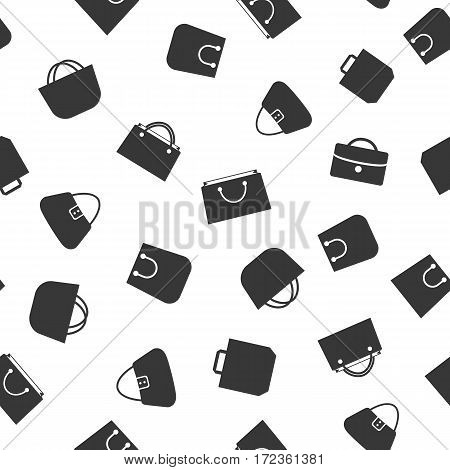 Shopping bag icons white color and flat style isolated on black background seamless pattern for your business. Vector Illustration