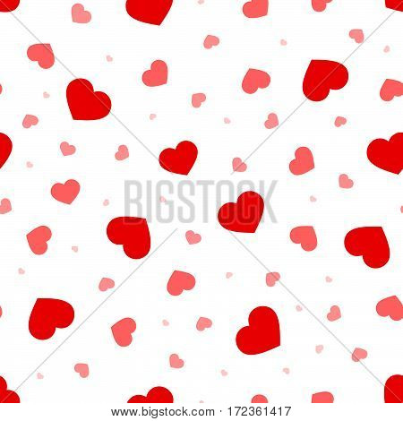 Valentine's day vector seamless pattern with red and pink hearts on a white background.