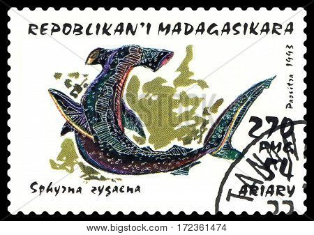 STAVROPOL RUSSIA - February 17 2017: a stamp printed by Malagasy shows Fish hammer (Sphurna zugaena) circa 1993