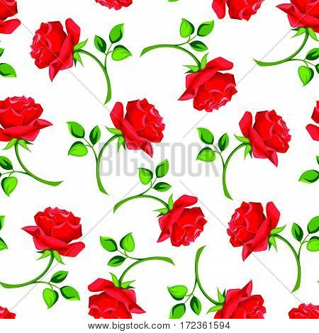 Vector seamless pattern with red roses on a white background.