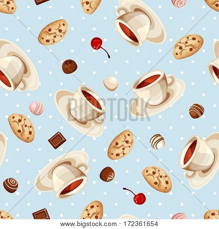 Vector seamless pattern with cups of tea, cookies and chocolate candies on a blue background.