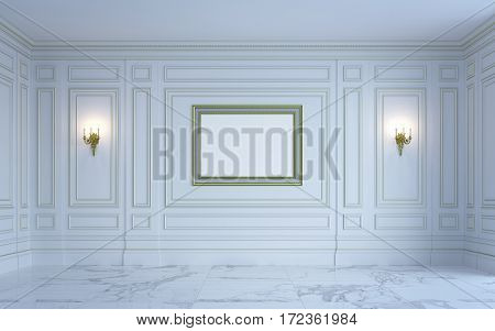 A classic interior is in light tones with marble floor . 3d rendering.