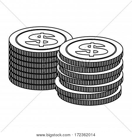 monochrome contour with coins stack in horizontal position vector illustration
