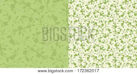 Seamless green spring floral patterns. Vector illustration.