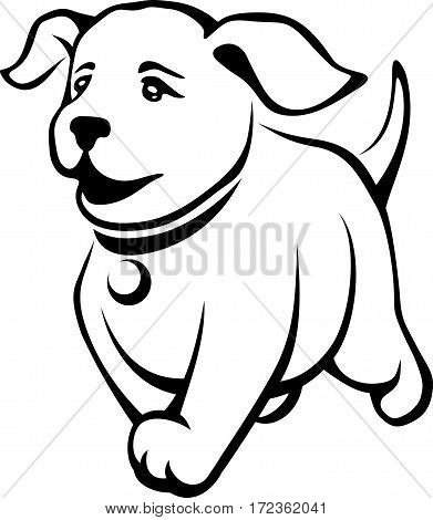 Vector black contour drawing of a cute running puppy isolated on a white background.
