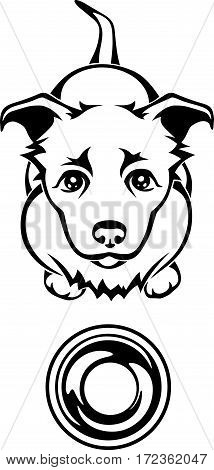 Vector black and white illustration of a hungry dog begging for food with an empty bowl.