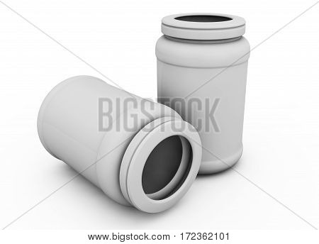 Realistic 3D rendering of plastic White Capsule bottle on white background with open cap of vitamins pills or capsules. 3D illustration