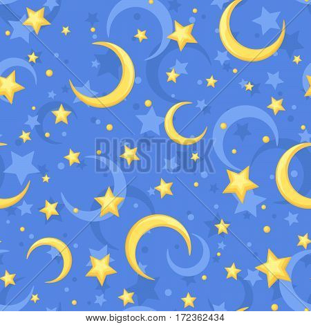 Vector seamless pattern with yellow stars and crescents on a blue background.