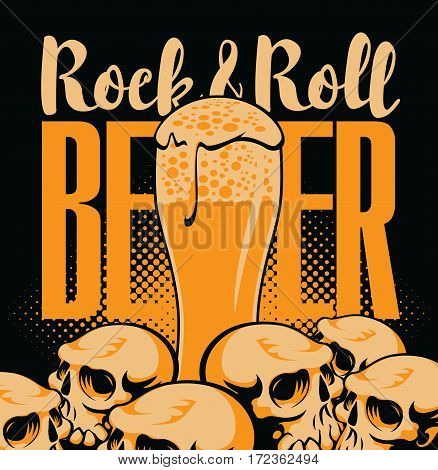 banner for the pub with live music with a glass beer and human skulls