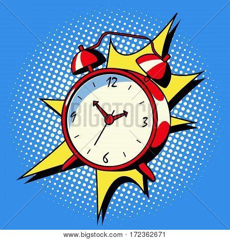 Alarm clock ring comic book pop art retro style vector illustratoin