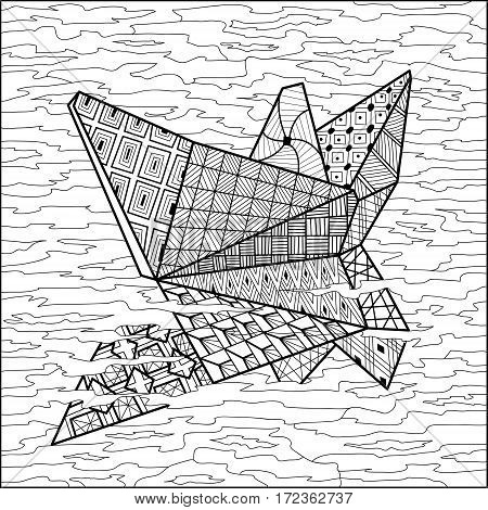 Paper boat on water coloring book vector illustration. Coloring for adult. Black and white lines. Lace pattern